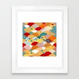 Nature background with japanese sakura flower, orange red pink Cherry, wave circle pattern Framed Art Print