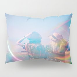 """Rainbow Sisters on the Shoreline"" Holga photograph Pillow Sham"