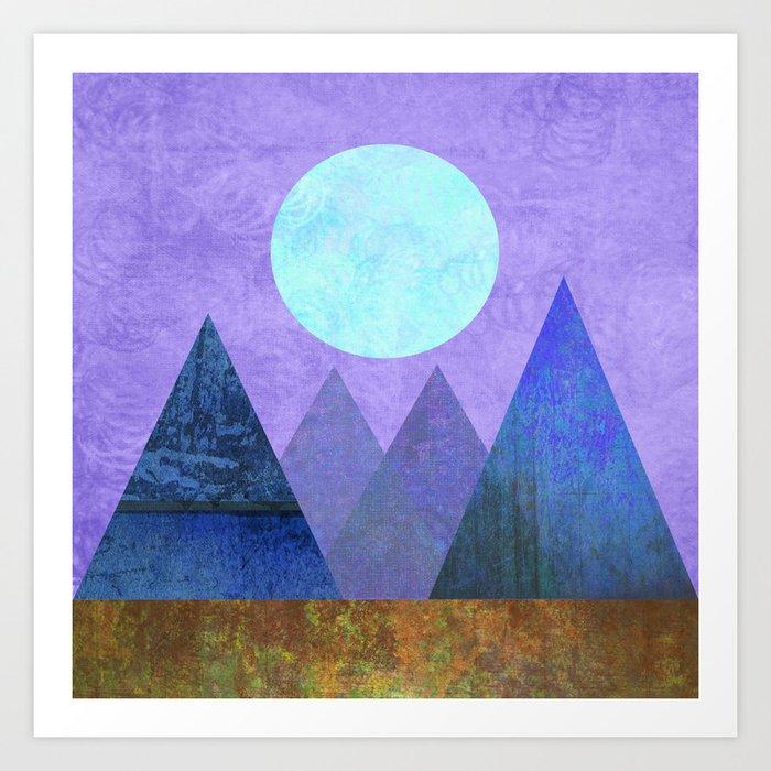 Take Me Away, Mountains, Full Moon Art Print
