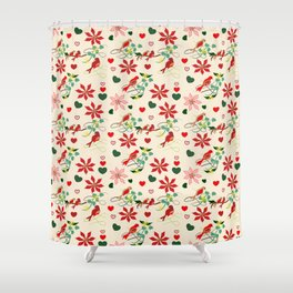 Christmas Birds Cream Background Shower Curtain