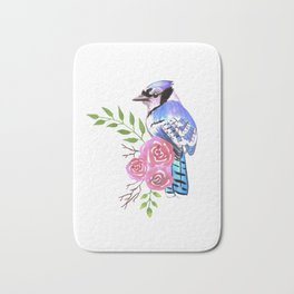 Blue Jay on a floral branch watercolor bird painting Bath Mat