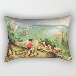 Landscape With The Fall Of Icarus Painting Pieter Bruegel The Elder Rectangular Pillow
