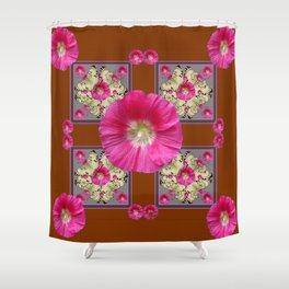 COFFEE BROWN CERISE HOLLYHOCKS BUTTERFLY DESIGN Shower Curtain