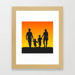 Family silhouettes shirt Framed Art Print