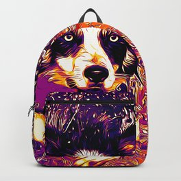 border collie jumping in water vector art late sunset Backpack