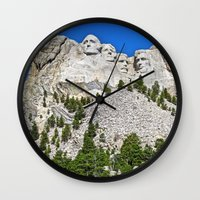 rushmore Wall Clocks featuring Mount Rushmore by astultz23