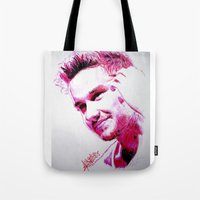 liam payne Tote Bags featuring Liam Payne by Drawpassionn