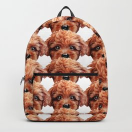 Toy poodle red brown Dog illustration original painting print Backpack