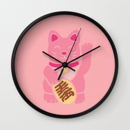 Lucky Cat in Pastel Pink Wall Clock