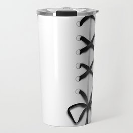 Laced Black Ribbon on White Travel Mug