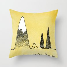 Camping between the mountain and the trees Throw Pillow