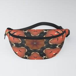 Orange Black Flower Mandala Design Fanny Pack
