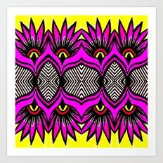 Modern Purple Flowers Pattern Art Print