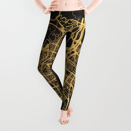 MEDELLIN COLOMBIA GOLD ON BLACK CITY MAP Leggings