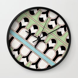 Vintage Mint Green Assyrian Pattern with a hint of Art Deco Wall Clock