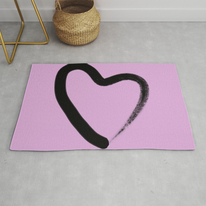 Simple Love Minimalistic Simple Black Love Heart Brush Stroke On A Pink Background Rug By Printpix