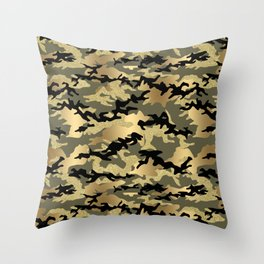 Gold Green Army Print Camouflage Throw Pillow