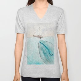 Whale watching Unisex V-Neck