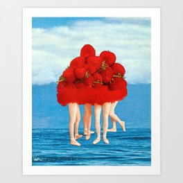 Strawberries dancers of the Sea Art Print