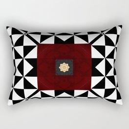 Ruby Red Marble w/ Blk & White Geometrica Pattern Insert Rectangular Pillow