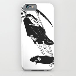 Grim reaper skater - funny skeleton - gothic monster - black and white iPhone Case