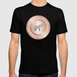Rose Gold Gray Elephant Mandala T-shirt