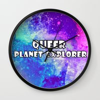 queer Wall Clocks featuring Queer Planet explorer by Paris Noonan