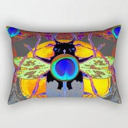 MYSTIC BLACK  BEETLE BLUE PEACOCK MOON ART Rectangular Pillow