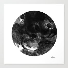 Black and White Abstract Geometric Circle Canvas Print