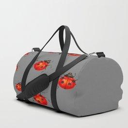GREY ART  RED LADY BUGS  PATTERN DESIGN Duffle Bag