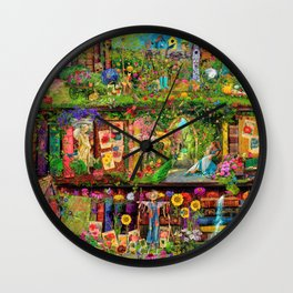 The Secret Garden Book Shelf Wall Clock