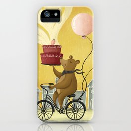 Bear on a Bike Illustration iPhone Case