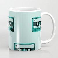 cassette Mugs featuring cassette by Ginger Pigg Art & Design