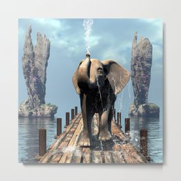 Elephant on a jetty Metal Print