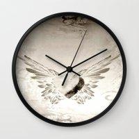 angel wings Wall Clocks featuring angel wings by Mariedesignz