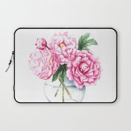 Pink Peony Painting, Watercolor Peony Art, Pink Flower Bouquet Laptop Sleeve