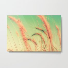 Swing into Spring (Reed Plants with Mint Green Sky Background) Metal Print