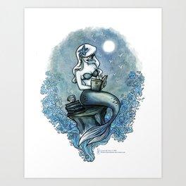 Bookish Mermaid W  Art Print