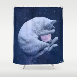 Cuddly Moon Cat Shower Curtain