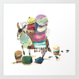 Watercolor cute donkey kids illustration Art Print