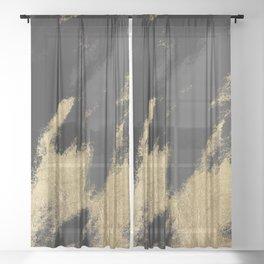 Modern chic gold black gray abstract watercolor Sheer Curtain