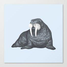 Frank Wallace in Blue | Nursery Art Walrus Drawing Canvas Print