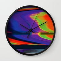 glitch Wall Clocks featuring Glitch by Simon Langlois