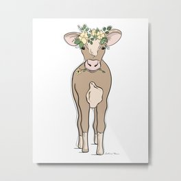 Baby Cow Metal Print