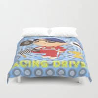 racing Duvet Covers featuring Racing Driver by Alapapaju