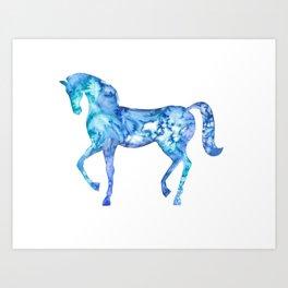 Blue horse in my dreams Art Print