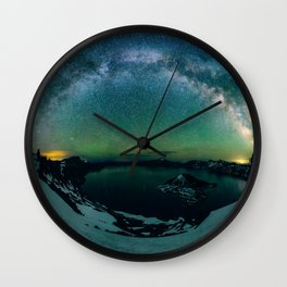 Galactic Rainbow over Crater Lake Wall Clock