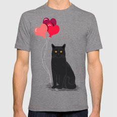 Black Cat Love balloons valentine gifts for cat lady cat people gifts ideas funny cat themed gifts SMALL Tri-Grey Mens Fitted Tee