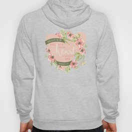 """All Your Heart"" Floral Bible Verse Print Hoody"