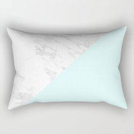 White Marble with Pastel Blue and Grey Rectangular Pillow